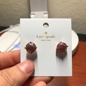 Kate Spade | NWT Rose Gold Glitter Stud Earrings